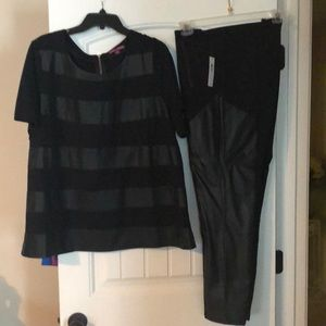 Leather and Spandex Top and Pants, Black